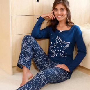 Dámské bavlněné dlouhé pyžamo s působivým potiskem