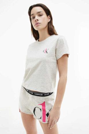 Dámské bavlněné krátké šedé pyžamo od Calvin Klein