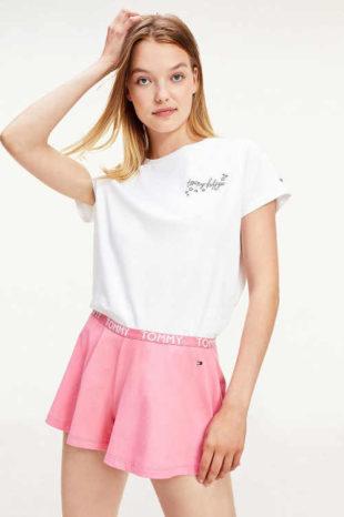 Dámské krátké bílo-růžové pyžamo Tommy Hilfiger