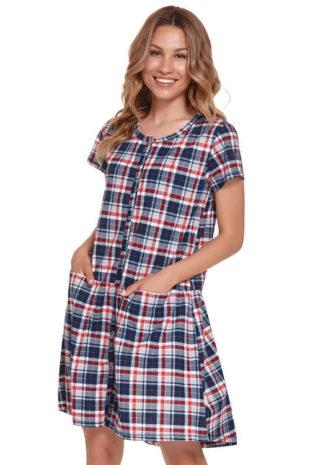 Kostkovaná moderní bavlněná těhotenská noční košile