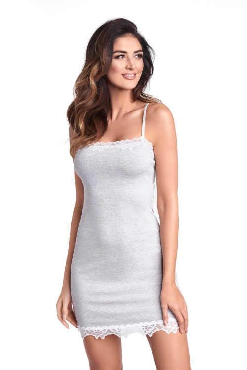 Krásná šedá dámská noční košilka na tenká ramínka