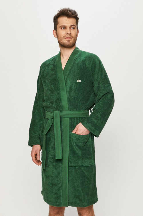 Luxusní pánský župan kimono Lacoste v zeleném provedení
